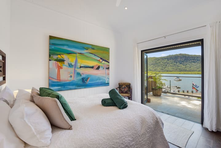 Master queen bedroom opening to the most beautiful mountain view in Spencer.