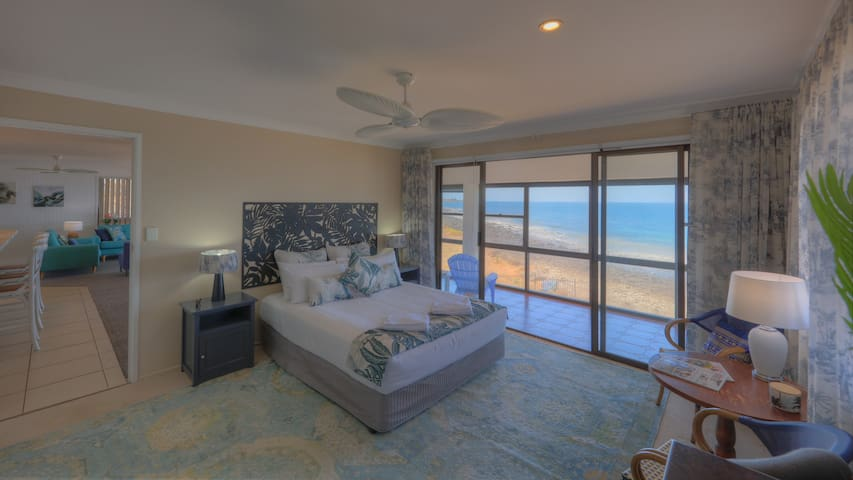 Master Bedroom King -with direct Balcony access, Robe, Ensuite, Air Conditioning + Fan & TV