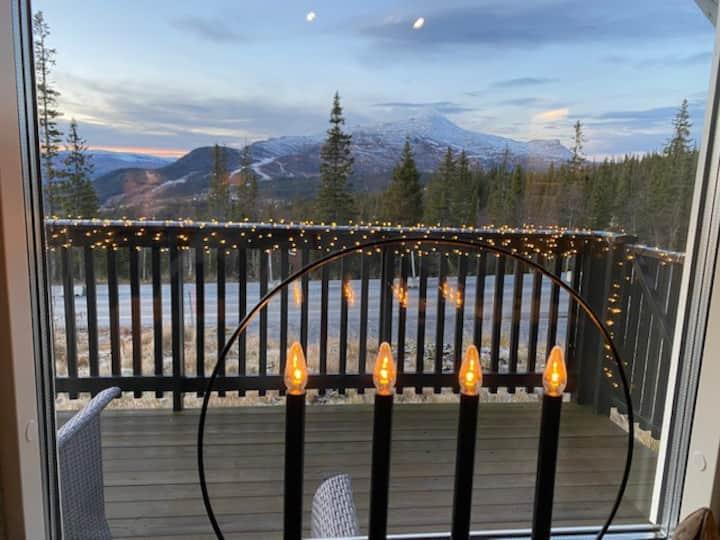 Leilighet, ski in/out og flott utsikt, nær hotell