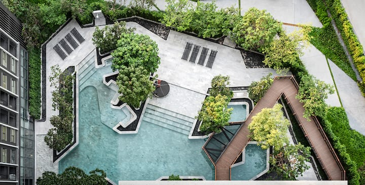 【长租特惠】大V网红一室一厅无敌夜景&360度无边泳池+MRT+火车夜市+RCA+暹罗广场