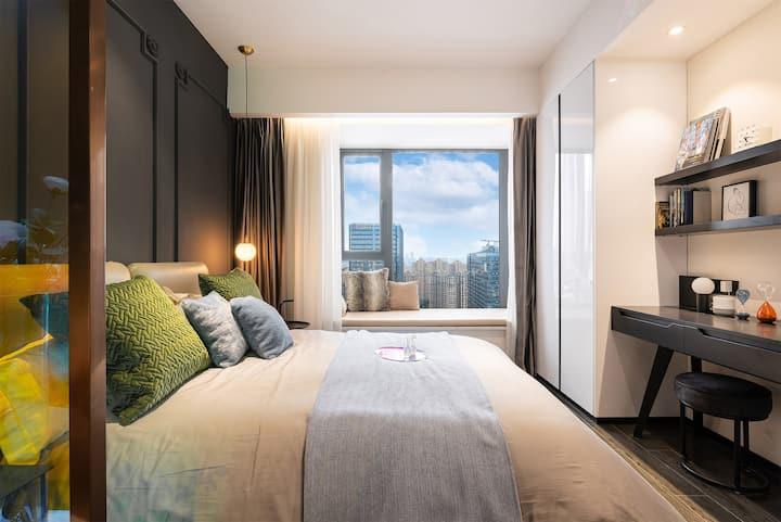 城南金融城1号、5号交子大道地铁口40平智能酒店A4 独立房间