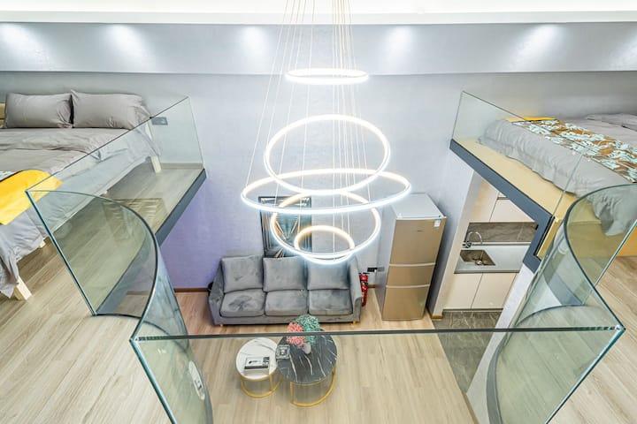 智能loft豪华双床套房一&珠海奥园广场 普陀寺 体育中心  65平方豪华套房 可住4人