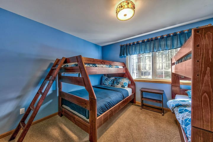 Downstairs bedroom 5 is great for kids with a twin-over-full bunkbed and a twin-over-twin bunkbed