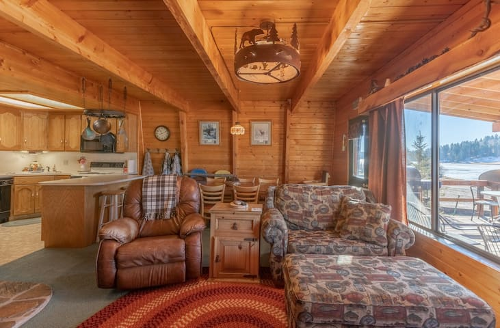 The rustic interior sets the relaxing tone for your stay.