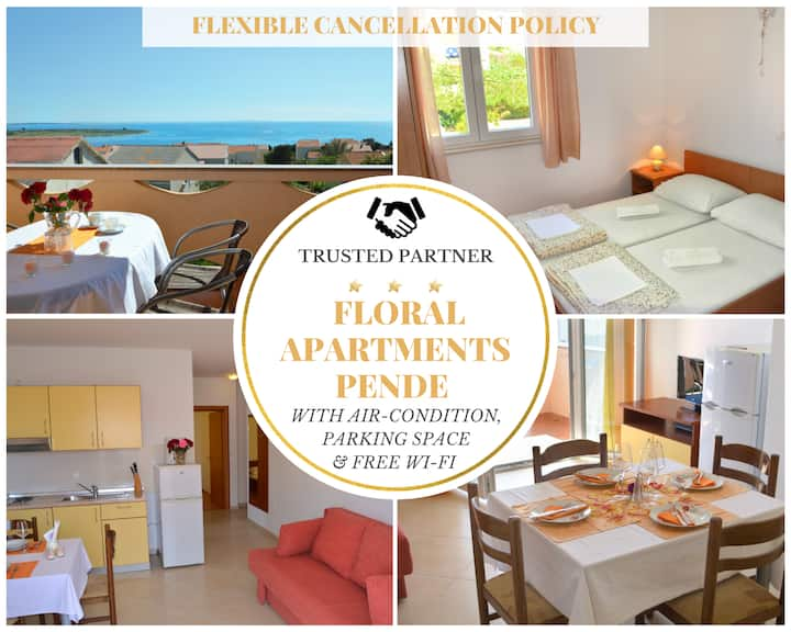 Floral Apartment Pende 2 - SeaView, Terrace & BBQ