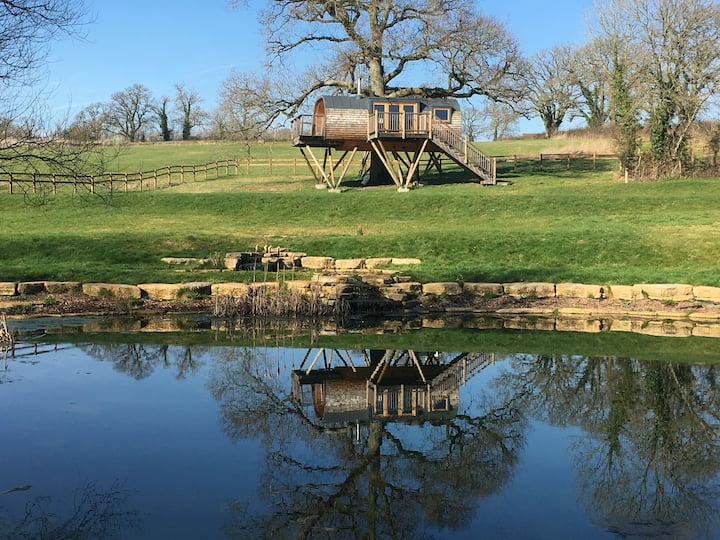 Glamping luxury lakeside Treehouse In Somerset
