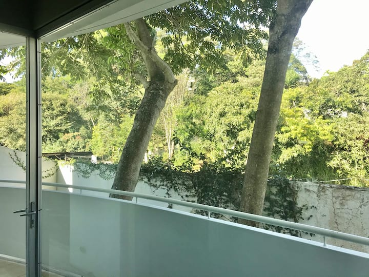 Modern studio with a jungle view. Private, secure.