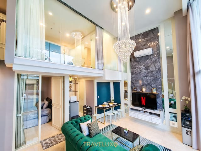 High ceiling with gorgeous chandelier