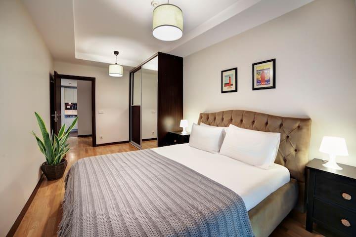 Bedroom, shot from balcony door