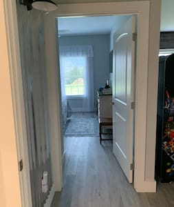 """36"""" wide doorways off hall that leads to the bathroom and bedroom."""