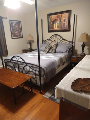 Master queen size bed with private bath.