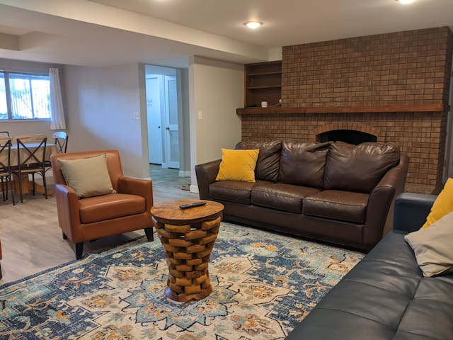 Spacious living room with fold-down couch