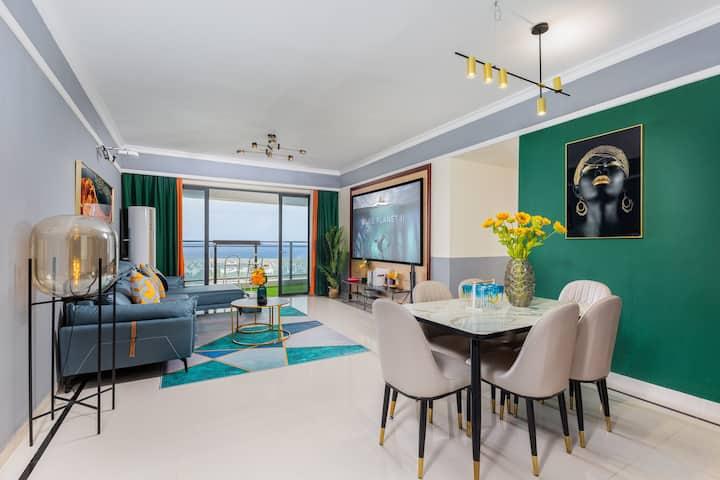 180度高层海景~轻奢主义·海景三房 新埠岛 巨幕影院 离沙滩50米 海鲜大世界  骑楼老街