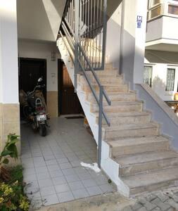 L'entrée de l'appartement et sous les escaliers , il n'y a pas de marche .