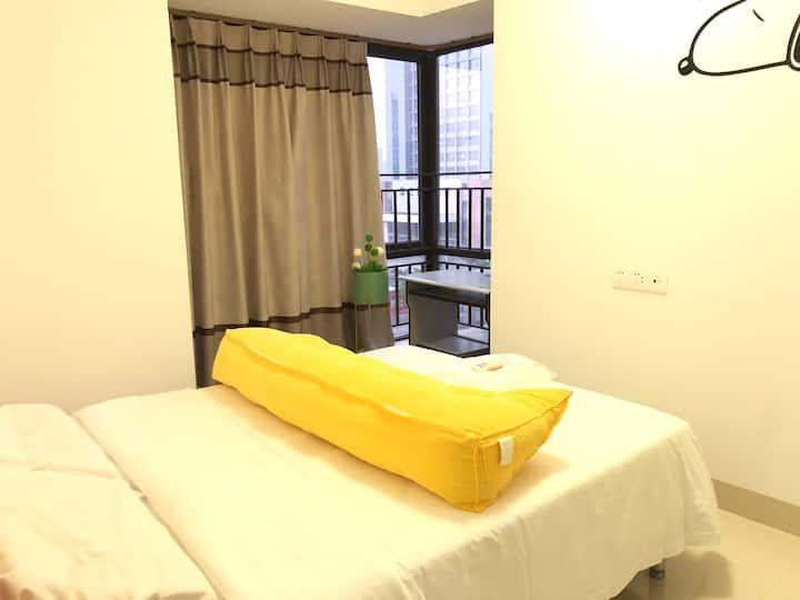 「金沙湾」丽悦新天·金沙湾海滩·万达广场·酒吧街·ins清新风两居室