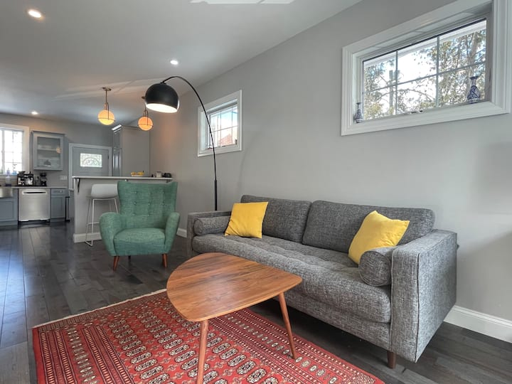 Brand new house with mid century decor, new tech