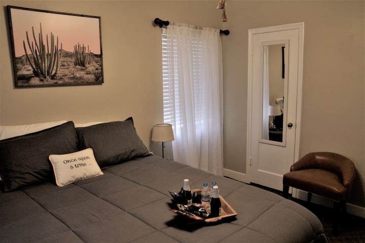 """""""Master"""" bedroom has (1) queen bed.  Closet has storage shelves along with plenty of hangers to hang up your clothes."""