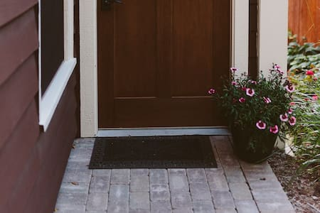 38-inch wide path approaching entry door