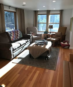 Everything is on one main floor and there are no hallways. Open concept throughout the cottage.