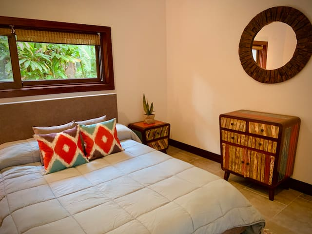 2nd Bedroom with queen size bed and single bed. High quality orthopedic mattresses. Large closet to be used by guests.