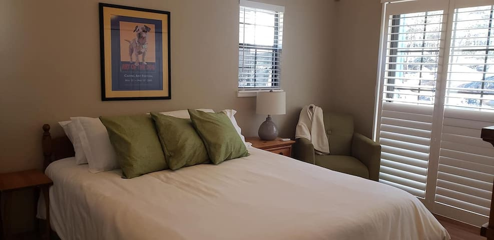 The master bedroom has a queen size bed a large closet and a large dresser.  The sliding glass door accesses the patio.