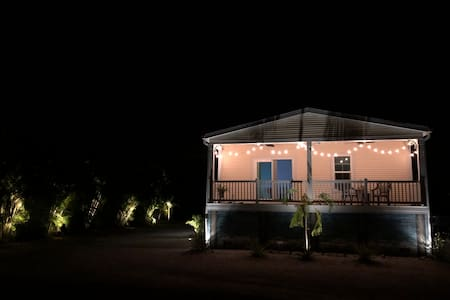I don't have a picture of steps into the house but we now have Commercial grade exterior lighting that come on dusk to dawn in the entrances and outside of house and around the yard