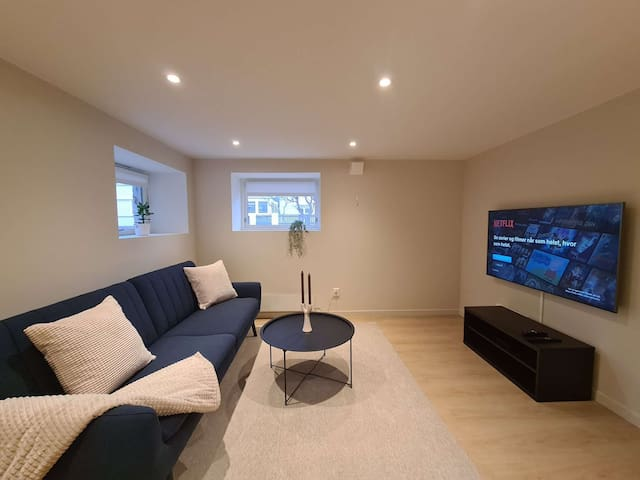 Fresh and cozy living room. Smart-TV with digital cable and Netflix account.