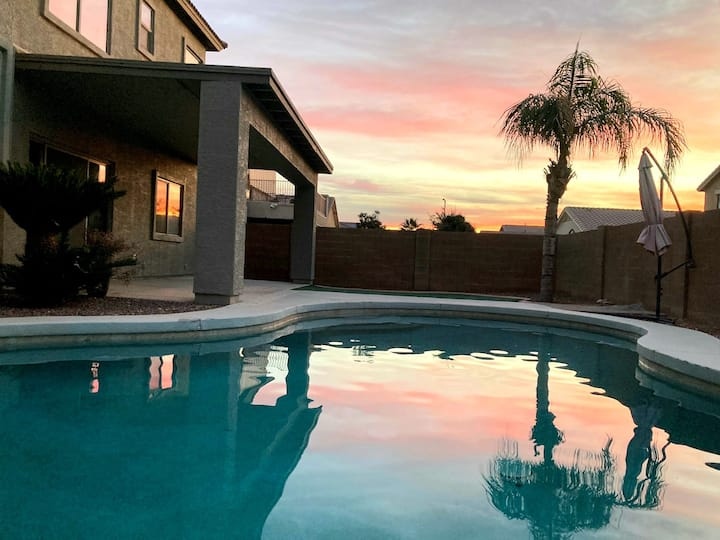 Light and bright with a HEATED pool!