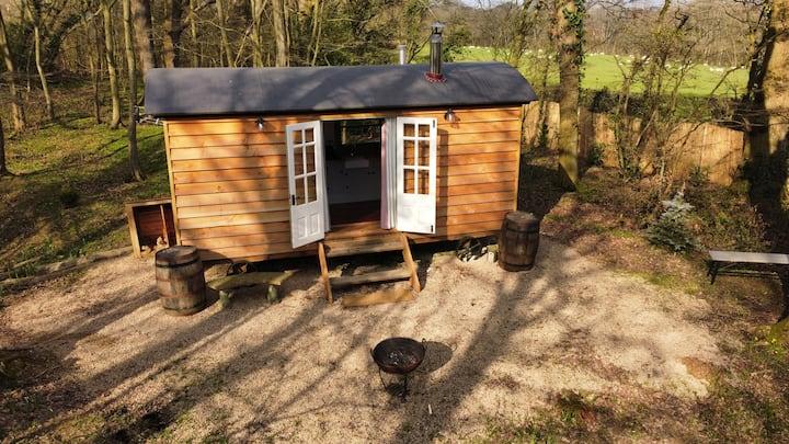 Luxury shepherds hut in lakeside woodland setting