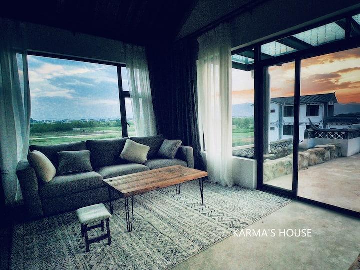 卡玛家/陇上日照生烟/美丽的田园别墅/360度观景平台/独立客厅带迷你吧台/大玻璃厨房