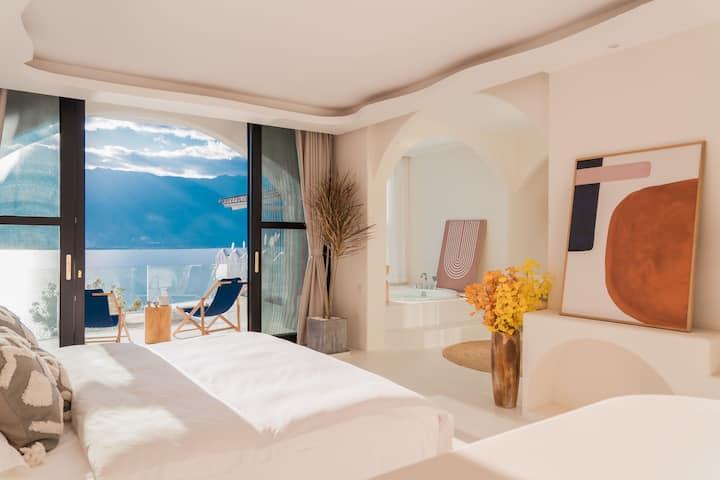 圣托里尼浪漫吧台|轻奢海景大床房|爱马仕洗浴|网红漂浮床打卡|入住两晚接送|精致下午茶