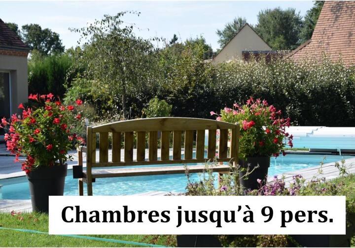 Chambres 9 pers / Spa / Petit Déj / Plat. repas