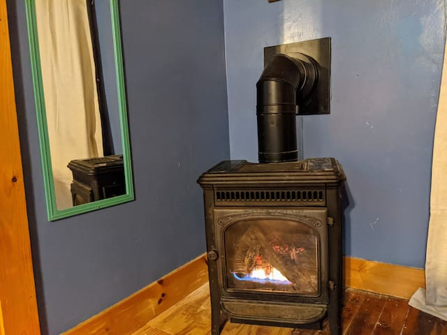 Gas fireplace gets nice and toasty after a long day on the slopes come home and relax