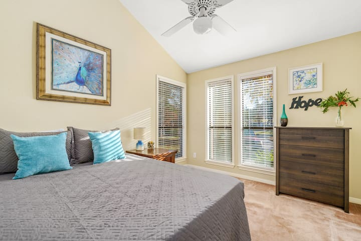 *2nd Bedroom* -Floor to ceiling windows offer lots of light -Plush Queen Mattress & Pillows -Ceiling fan -Large Closet & Clothing Storage