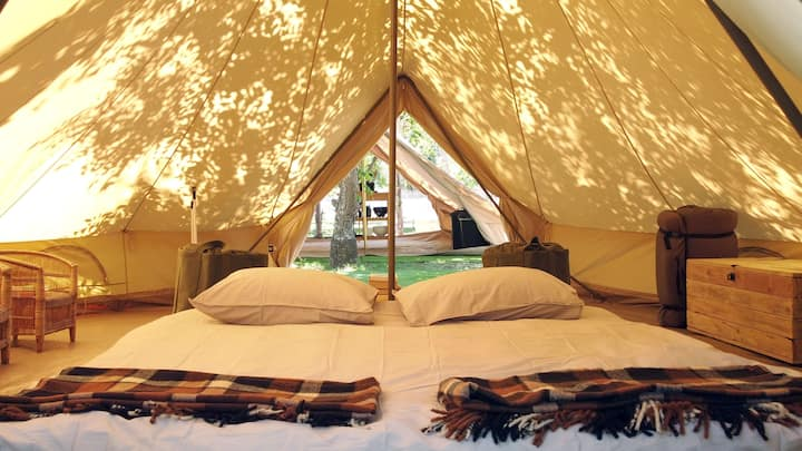 Shaded Bell Tents in Pecan Nut Orchard in Montagu