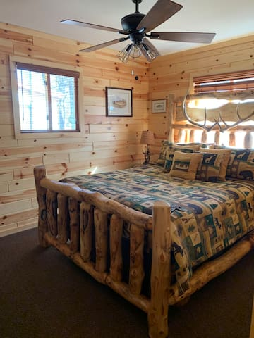 Bedroom 1, first floor, queen bed.