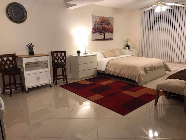Bright and Clean Studio walking distance to Metra!
