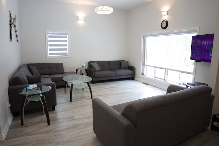Big family room with two pull-up couches and one sofa bed, Smart TV and Alexa set up!