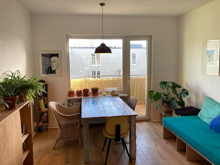 Eat-in kitchen, large bedroom and sunny balcony