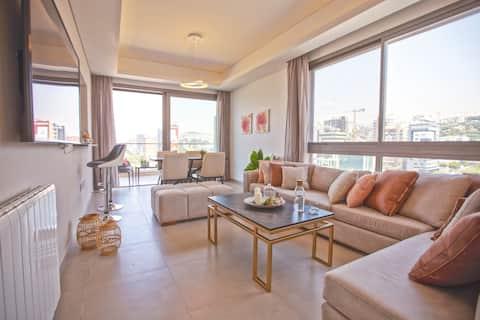 ★ Apartamento de 2 dormitorios en el muelle Dbaye + en la azotea de Chad