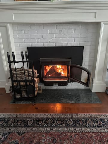 Cozy fireplace supplied with California oak from the Sierra foothills