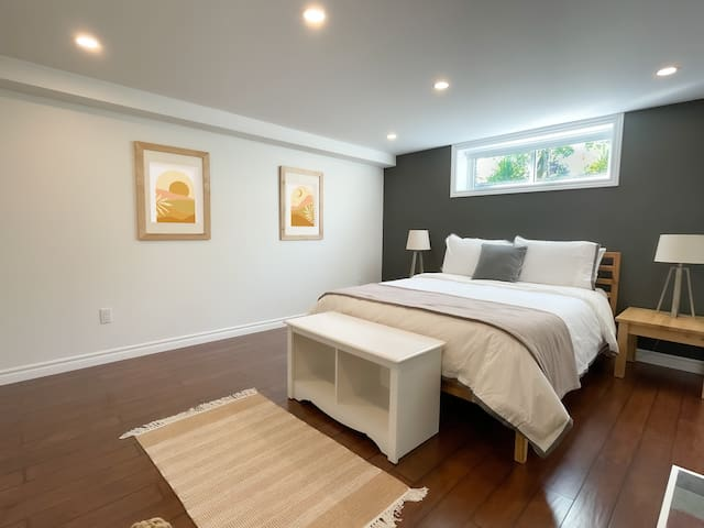 Large, bright primary bedroom, with Novosbed premium queen mattress, gas fireplace, Roku TV, and large closet.