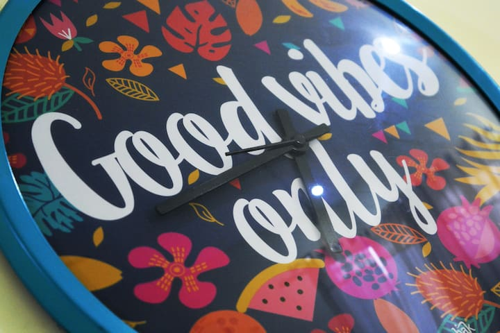 Good vibes only clock remind us for positive thoughts and surroundings