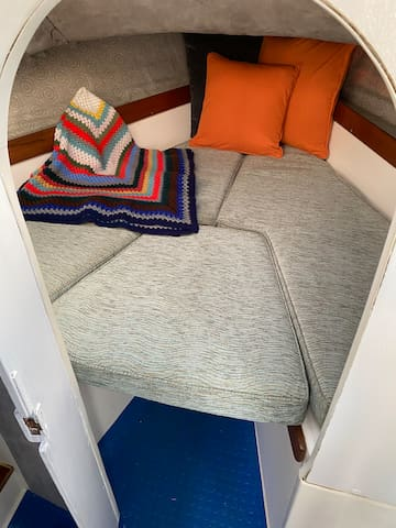 The 'Aft' small double sleeping cabin quarters - you lay with your feet in the V of the triangle