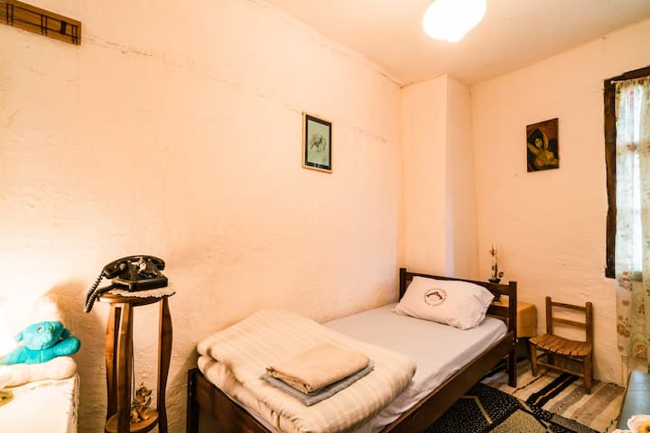 Single bed in 300 years old Etno House, Kratovo