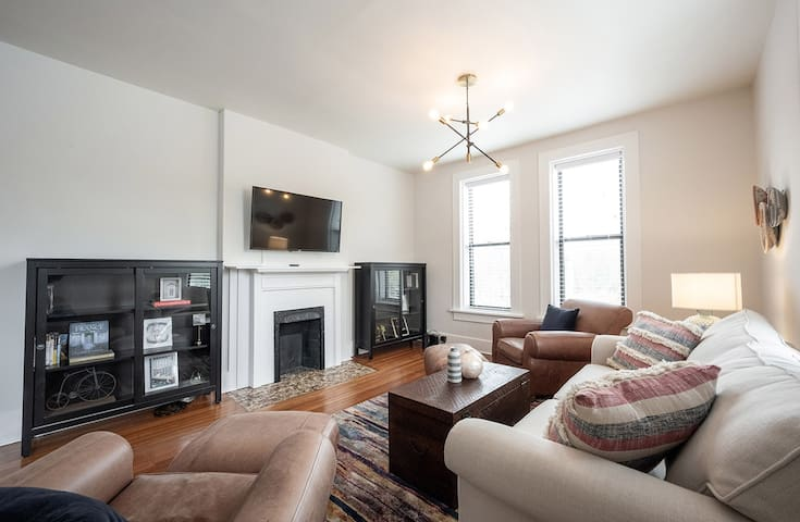 Enjoy the natural light, hardwood floors, and exposed brick that makes this condo so cozy.