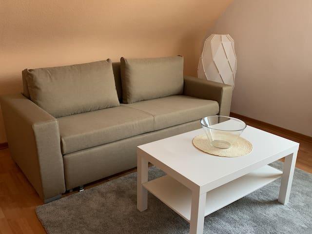 Das Sofa bietet Platz für 2-3 Personen.