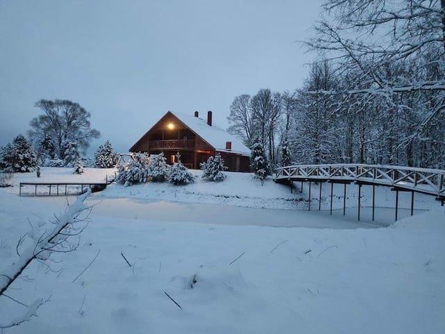 Private villa (entire house) with sauna near pond