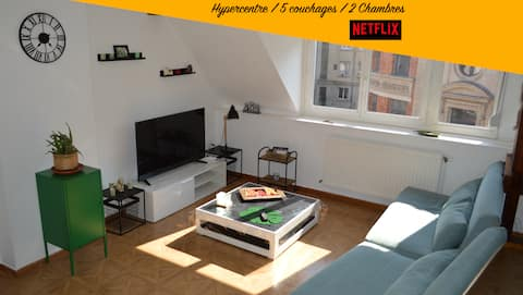 T3💛Cocooning💛54m2, 2 Chambres, Hypercentre
