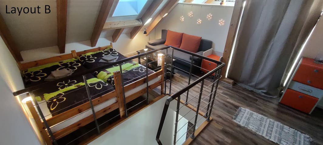 Layout B -  for husband and wife. Comfortable bed not only for two and is enough space for the smallest :)